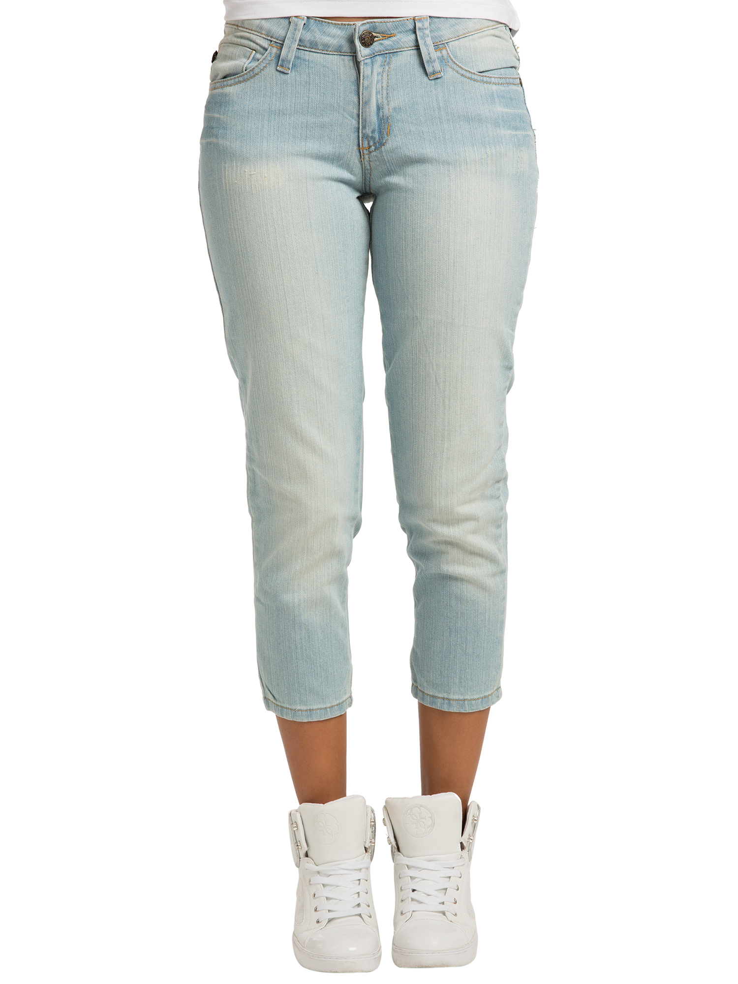 Sweet Vibes Womens Heavy Blast Wash Stretch Denim Skinny Cropped Jean Zipper Hem