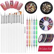 Nail Art supplies, JOYJULY 30 Striping tape & 15pcs nail art Brushes Set & 5pcs Dotting Pen & 3pcs 3D nail art Rhinestones Nail Art Kit tools accessories Decoration Diamond foi