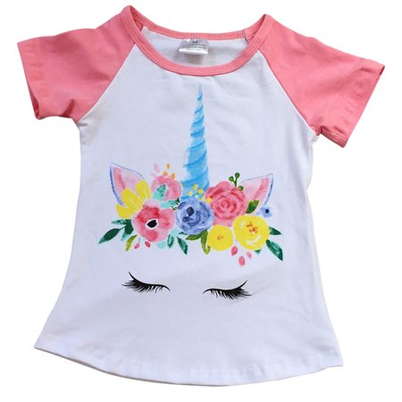 0438c1aa722 Dreamer P - Little Girls  Short Sleeve Floral Unicorn Raglan Summer Cotton  Top T Shirt Tee White 4 M (P201454P) - Walmart.com