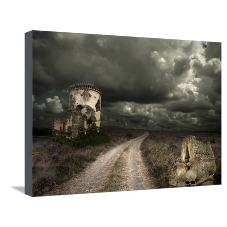 Halloween Background with Old Towers Stretched Canvas Print Wall Art By KoTangens