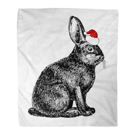 KDAGR Flannel Throw Blanket Vintage Christmas Rabbit in Santa Hat White Black Drawn Engraving Hand 58x80 Inch Lightweight Cozy Plush Fluffy Warm Fuzzy Soft ()