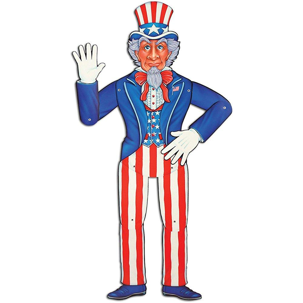 jointed uncle sam party accessory (1 count) (1/pkg)