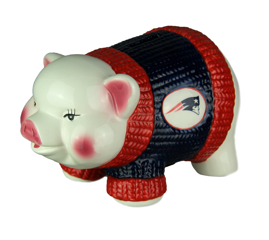 Adorable Ceramic New England Patriots Winter Sweater Piggy Bank by Memory Company