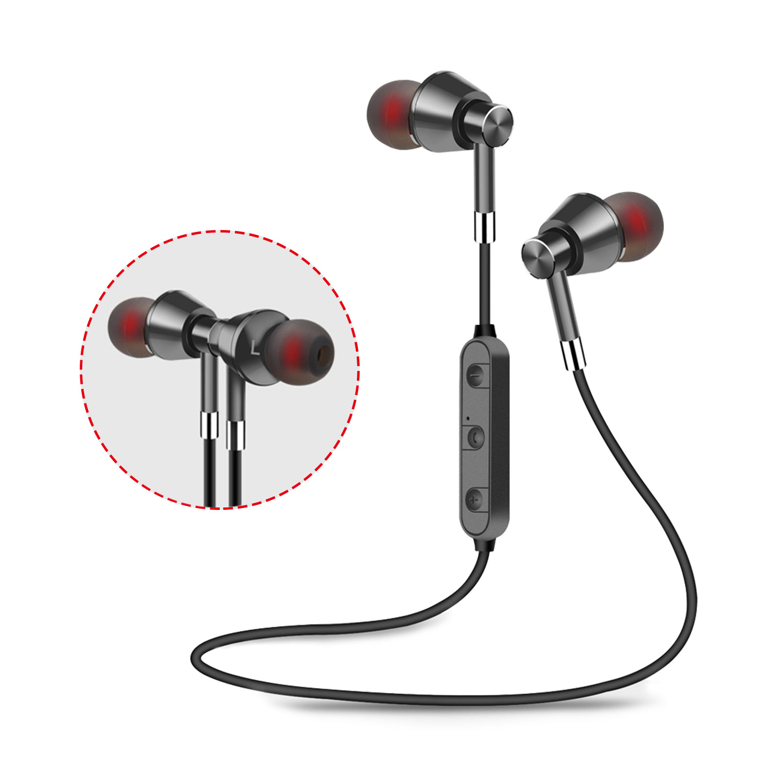 Bluetooth Earbuds Wireless Magnetic Headset Sport Earphones for Running Waterproof Headphones 3 Hours Playtime High Fidelity Stereo Sound and Noise Cancelling Mic