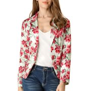 Unique Bargains Women Allover Floral Print Notched Lapel Open Front Blazer (Size L / 14) White Red