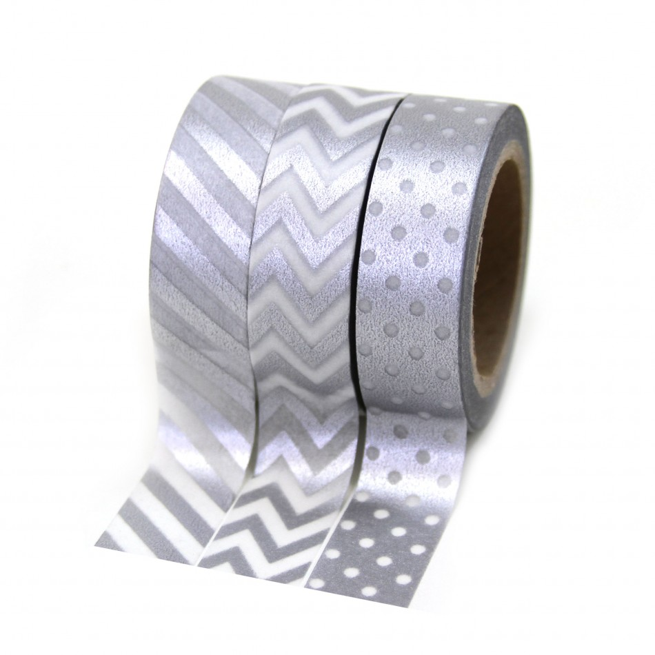 Dress My Cupcake Party Collection Washi Paper Tape, Silver, Set of 3