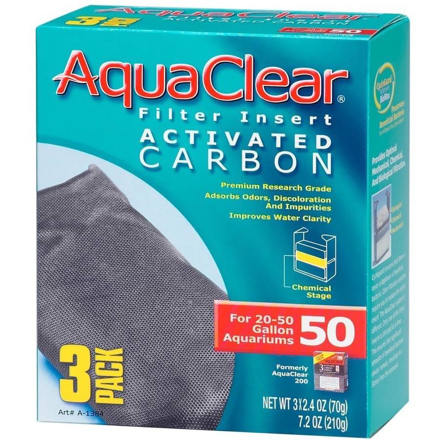 AquaClear 50 Filter Insert Activated Carbon, 3pk