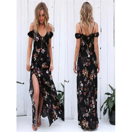 9f54d9508db Women Summer Vintage Boho Long Maxi Evening Party Beach Dress Floral  Sundress XL - Walmart.com