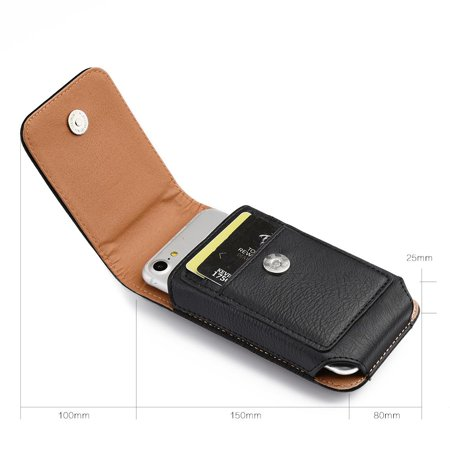 Insten Vertical Pouch Leather Protective Case Cover For HTC One M7 - Black - image 1 of 3