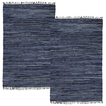 Simply Living (2 Pack) Denim Area Rug Home Décor Kitchen Living Room Blue Woven Rug Washable Chindi 2x3 Rag Rug
