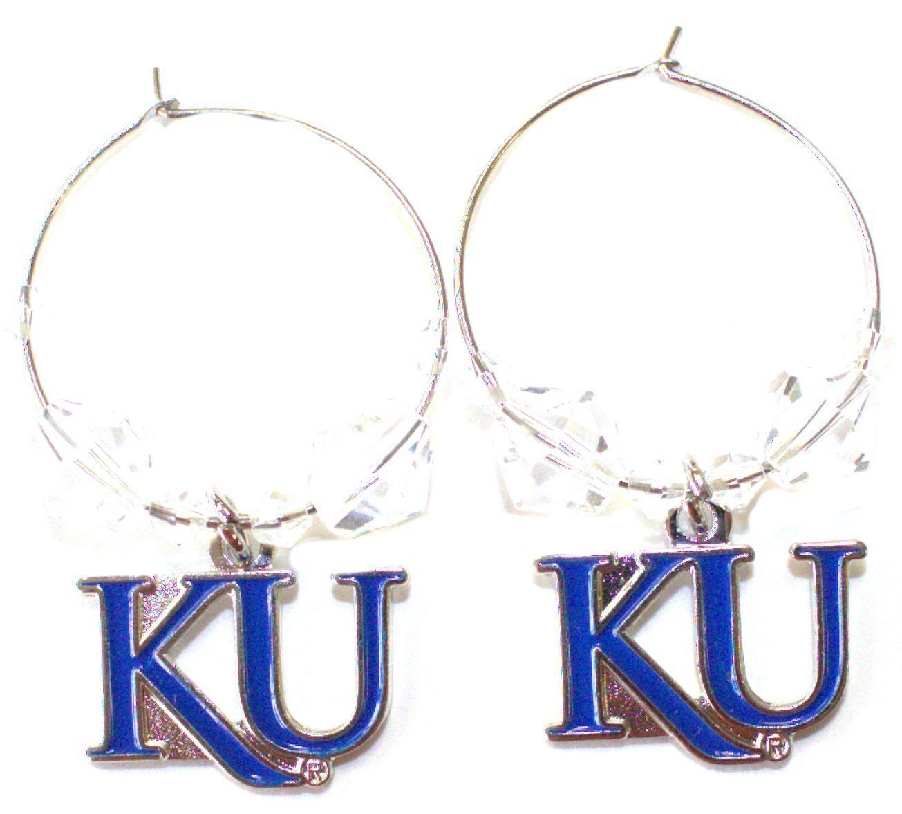 NCAA Officially Licensed Kansas Jayhawks Beaded Hoop Earrings