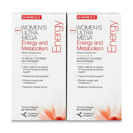 GNC Mega Women Energy & Metabolism Multivitamin Caplets, Pack of 2, 180 (Gnu Womens Snowboard)