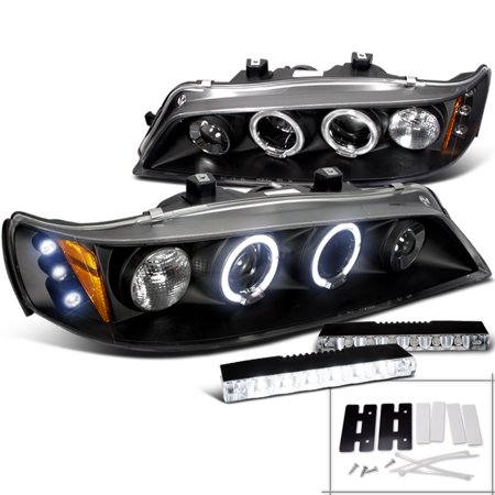 Spec-D Tuning For 1994-1997 Honda Accord Led Halo Projector Head Lights Black + 6-Led Bumper (Left+Right) 1994 1995 1996 1997