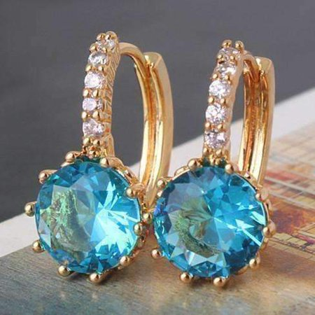 - ON SALE - Blue Topaz CZ Solitaire Gold Plated Hoops Yellow Gold