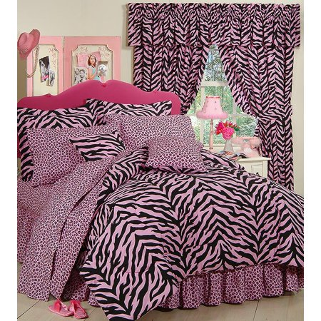 Black & Pink Zebra Print Bed in a Bag Set - Twin Size ()