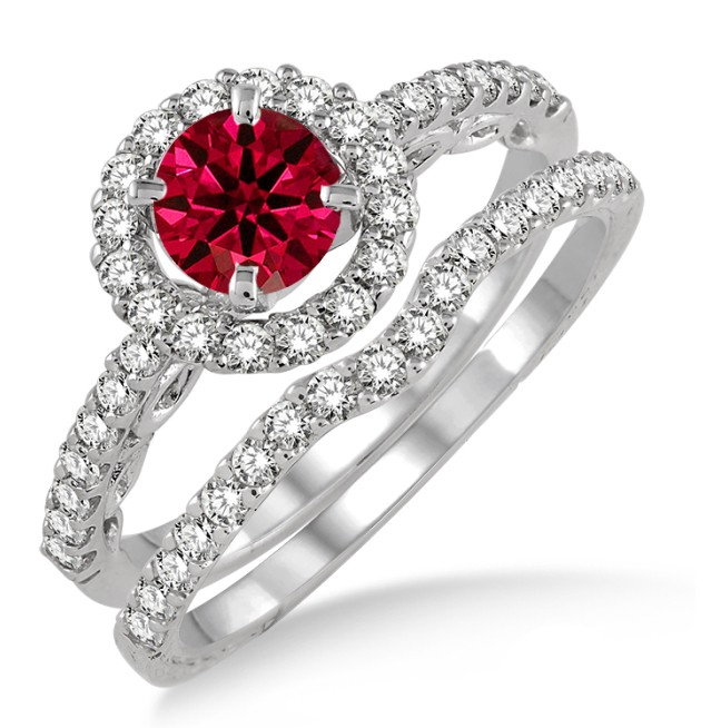 1.5 Carat Ruby & Diamond Antique Floral Halo Bridal set on 10k White Gold by JeenJewels