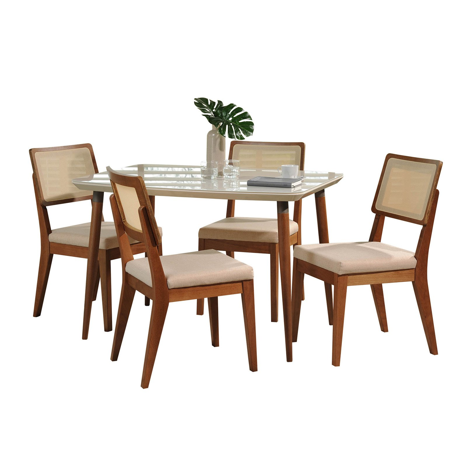 Manhattan Comfort Charles and Pell 5 Piece Dining Table Set