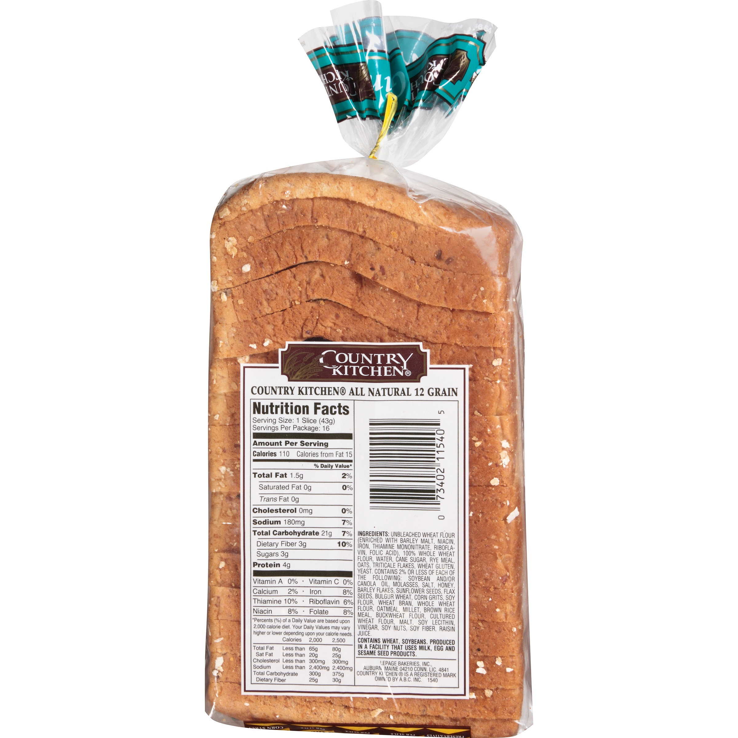 Country Kitchen All Natural Whole Grain 12 Bread 24 Oz Bag Com