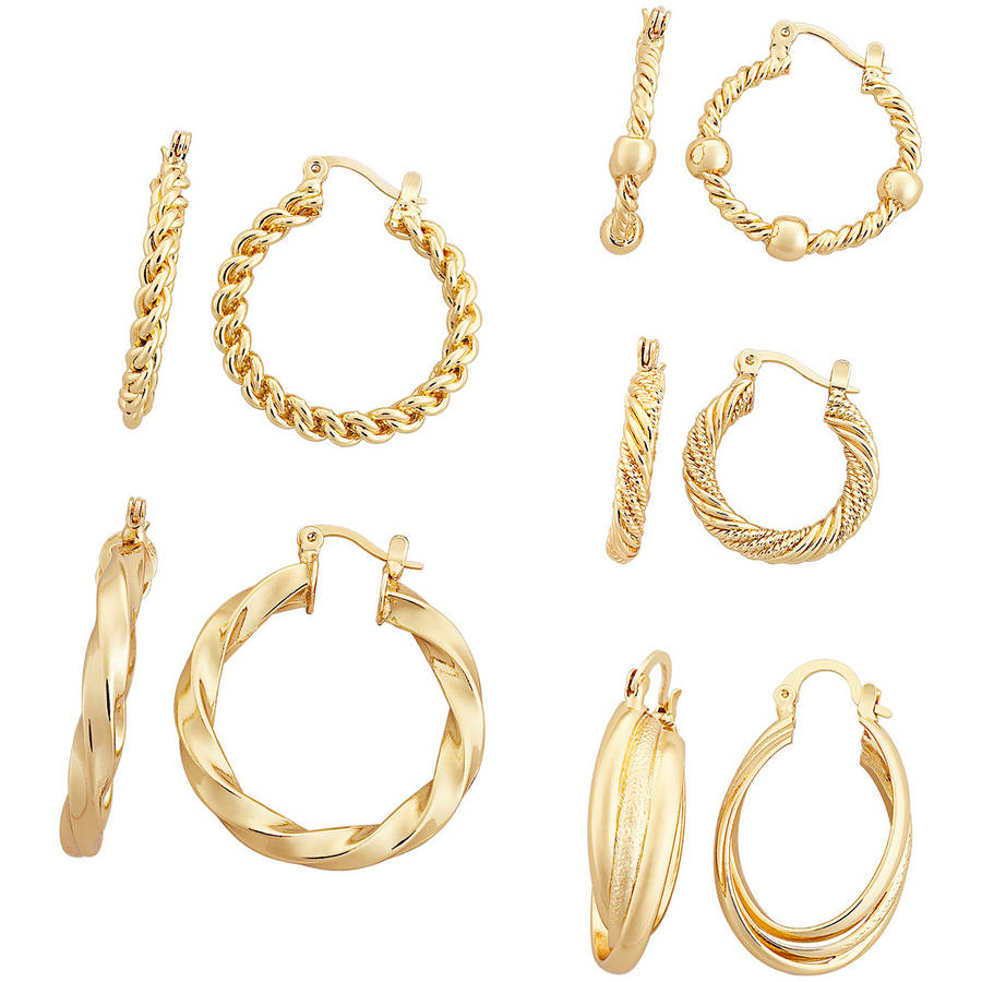 Gold Tone Fancy Hoop Earring Set, 5-Pair