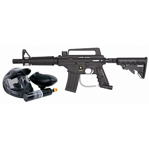 US Army by Tippmann Alpha Black Tactical Edition Paintball Marker Kit, Black