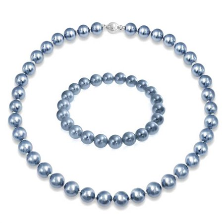 - Grey Blue Necklace For Women Stretch Bracelet Set Simulated Strand Pearl Rhodium Plated 10mm Floral Clasp