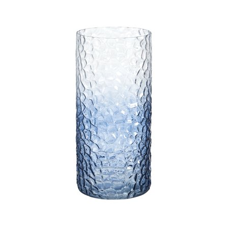 Elements 5 Inch X 11 Inch Blue Fade Embossed Glass Hurricane ()
