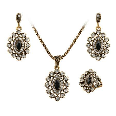 Women Girls Xmas Gift Jewelry Set Rhinestone Trim Eye Shape Pendant Necklace + Earring Eardrop + Ring - Necklace Earring Ring