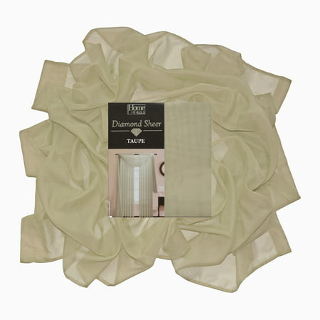 "Taupe Single Sheer Voile Window Curtain Panel: 55""W x 95""L, Fully Hemmed, Rod Pocket"