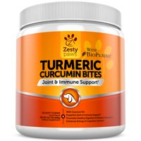 Zesty Paws Turmeric Curcumin Chewables for Dogs, Joint & Immune Support with BioPerine, 90 Soft Chews