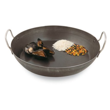 Paderno World Cuisine Paella Pan, Black Steel, DIA 12 1/2
