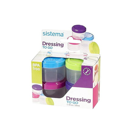 Sistema To Go Collection Salad Dressing Containers, 4 Pack