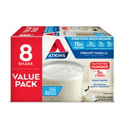 Atkins Gluten Free Protein-Rich Shake, Creamy Vanilla, Keto Friendly, 8 Count (Ready to Drink)