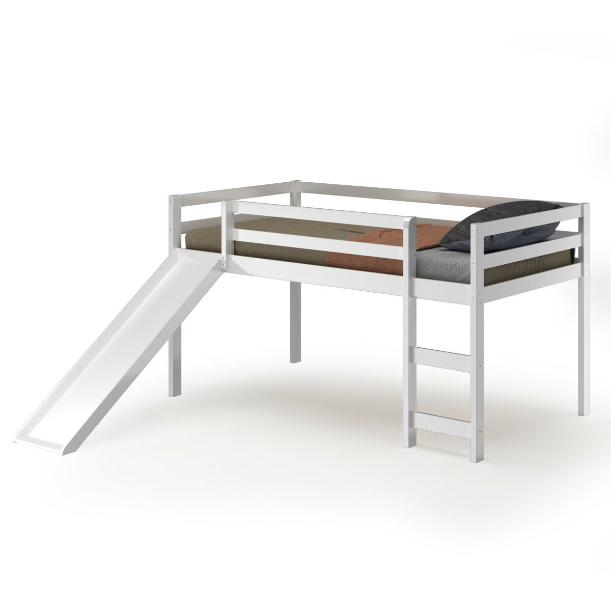 Picture of: Gymax Twin Size Loft Bed With Slide Wood Low Sturdy Loft Bed For Kids Bedroom White Walmart Canada