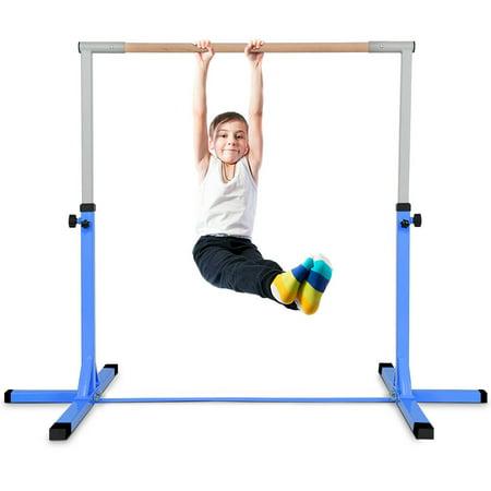 Costway Adjustable Steel Horizontal Training Bar Gymnastics Junior Home Practice Blue (Gymnastic Bag)