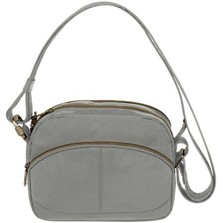 Travelon Anti-Theft Signature East-West Shoulder Bag - Pewter Anti-Theft Signature East-West Shoulder Bag