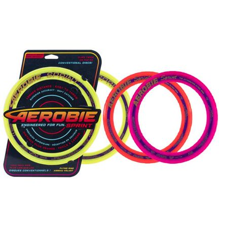 """Aerobie Sprint Flying Ring 10"""" Diameter, Soft Rubber Edged Flying Disc (colours and styles may vary) - image 1 of 1"""