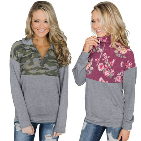 Women's Camouflage Printed Long Sleeve Shirt Zippered Collar Sweater Coat (Sweater Jacket Collar)