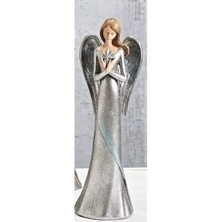 "12.5"" Glittered Silver Praying Angel with Bethlehem Star Christmas Tabletop Decoration"