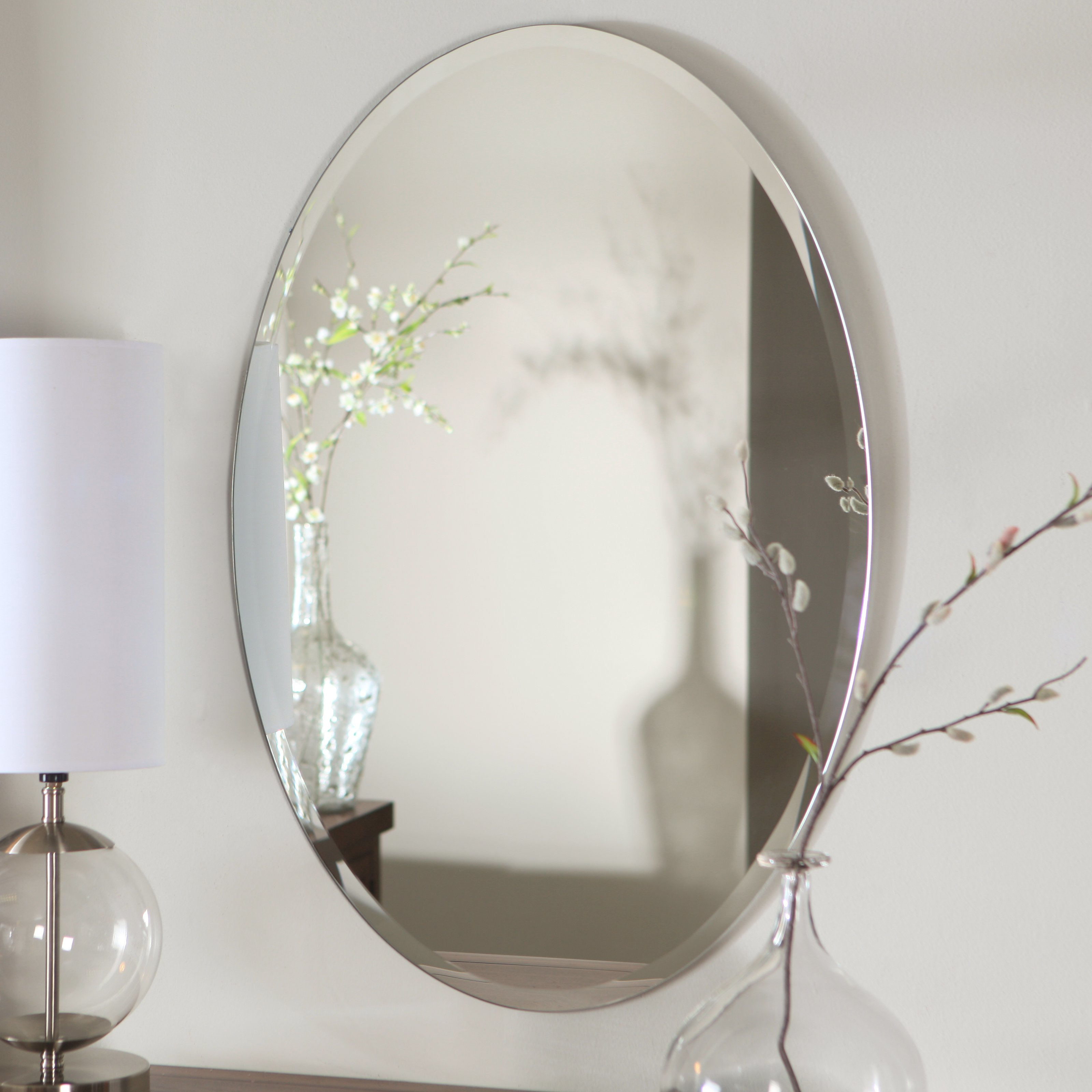 Décor Wonderland Hiltonia Oval Bevel Frameless Wall Mirror - 24W x 36H in.