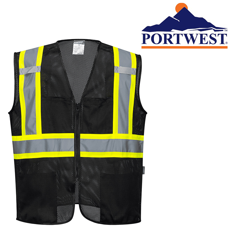Black Safety Vest High Visibility Hi Vis Contrast Reflective Tape Mesh - 5X-Large