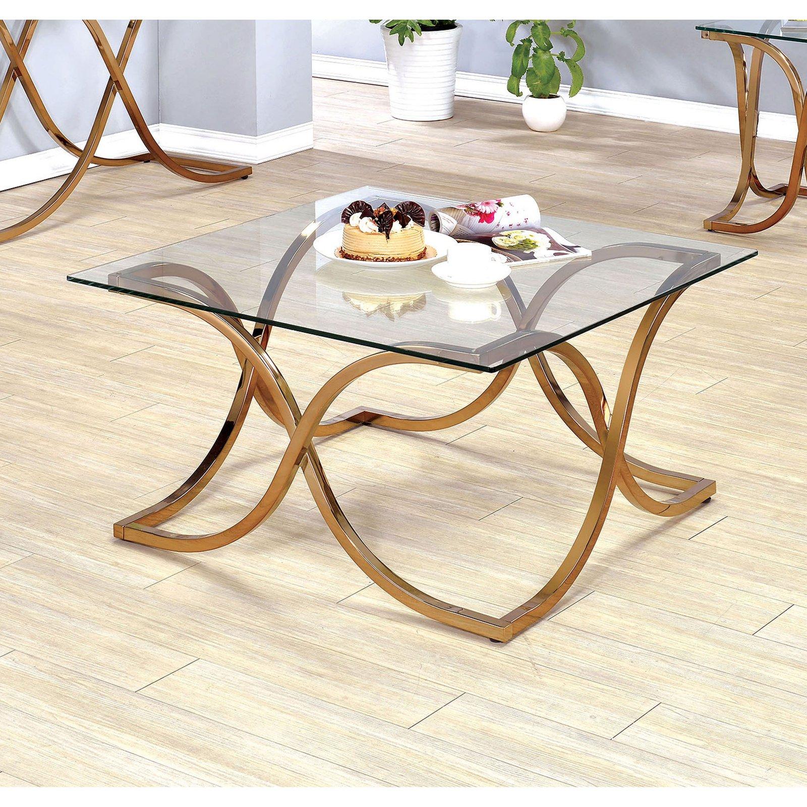 Furniture of America Karis Curved Leg Base Coffee Table