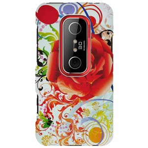HTC Case, Rubberized Protector Back Case Slim Designed Snap On Cover for HTC EVO 3D,HTC EVO V 4G - Red Rose Autumn