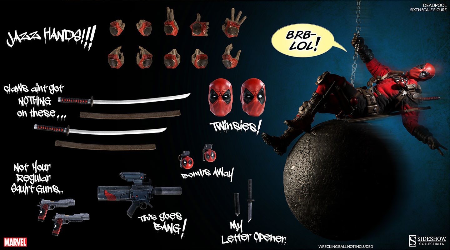 Marvel Sideshow DEADPOOL 1//6 Scale Action Figure NEW Factory Sealed