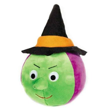 Halloween Gang Dog Toy Plush Ball Shape Scary Silly Pick Witch Spider or Pumpkin (Witch)](Halloween Spider Cheese Ball)