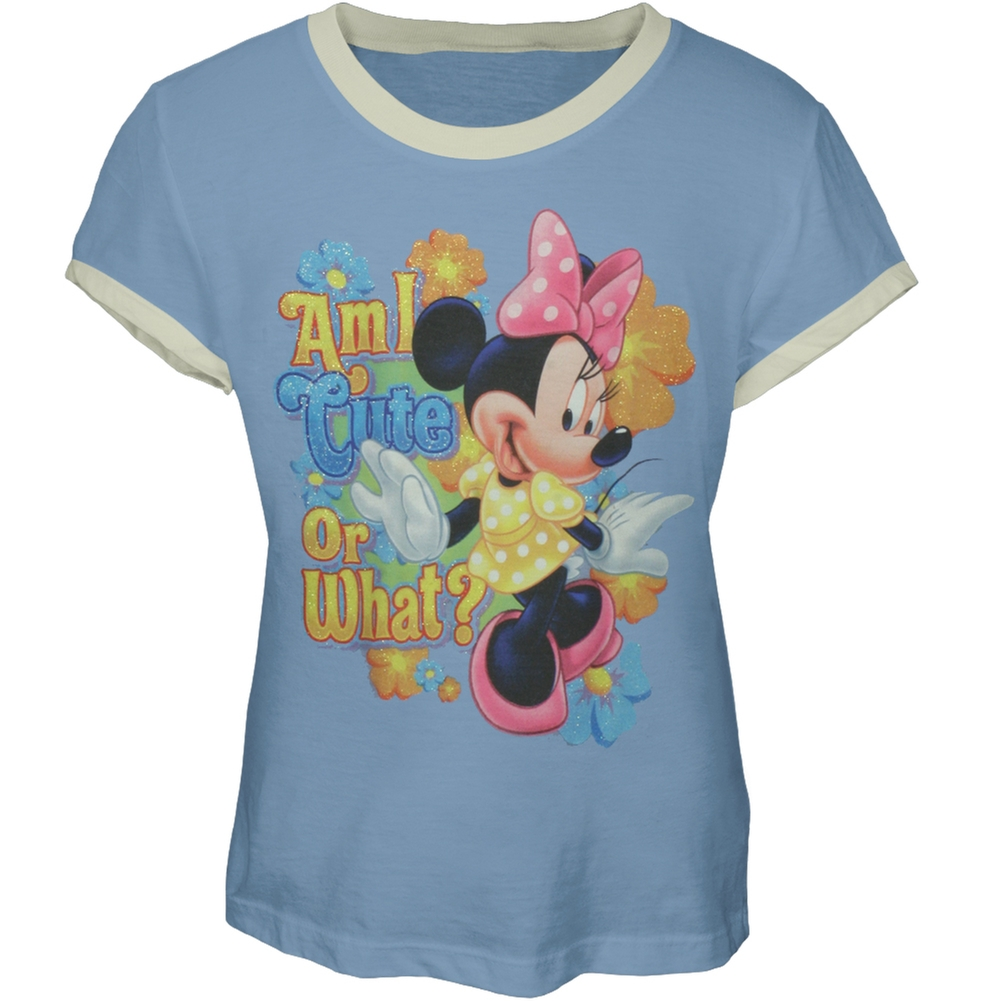 Minnie Mouse - Am I Cute Girl's Ringer T-Shirt - X-Large