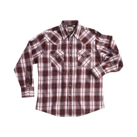 102aee2cff1 Ely Cattleman - Men s Burgundy Textured Plaid Long Sleeve Snap Shirt ...