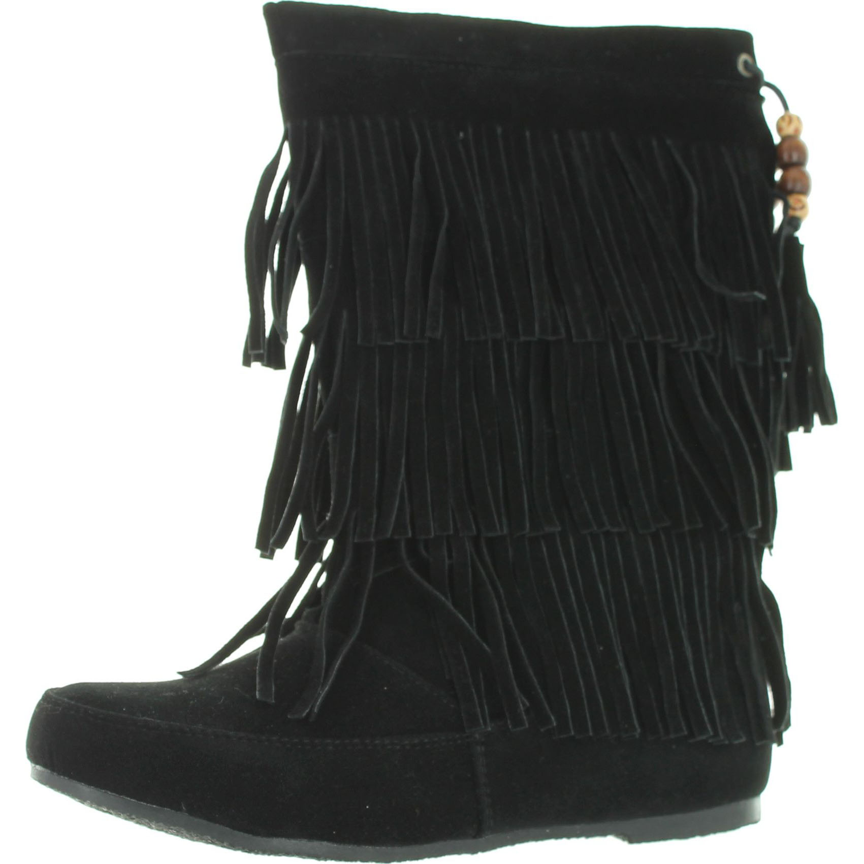 West Blvd Womens Lima MOCCASIN Boots 3-Layer Fringe Triba...