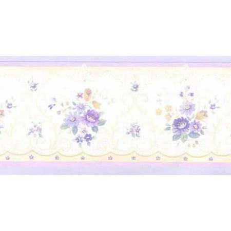 Small Print Purple Floral Wallpaper Border - Patton Norwall