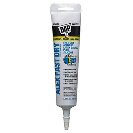 DAP ALEX Fast Dry Acrylic Latex Caulk Plus Silicone, White 5.5 oz