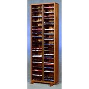 18 in. DVD Storage Tower w Individual Locking Slots (Honey Oak)